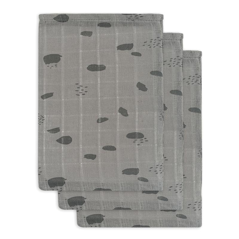 Waschlappen 'Spot' 3er Set Musselin grau