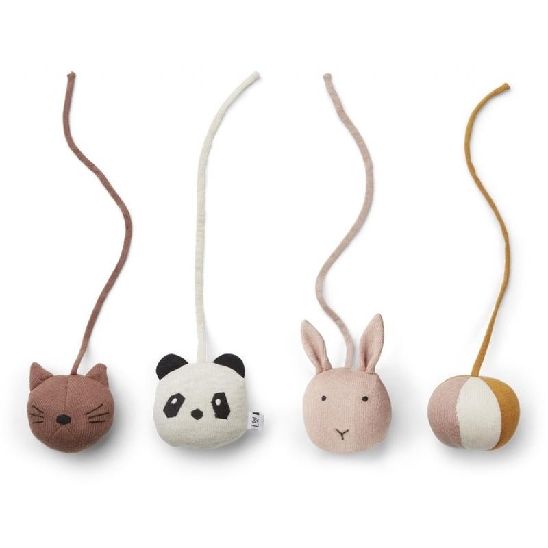 Spielbogen-Anhänger 'Tiere' Strick altrosa