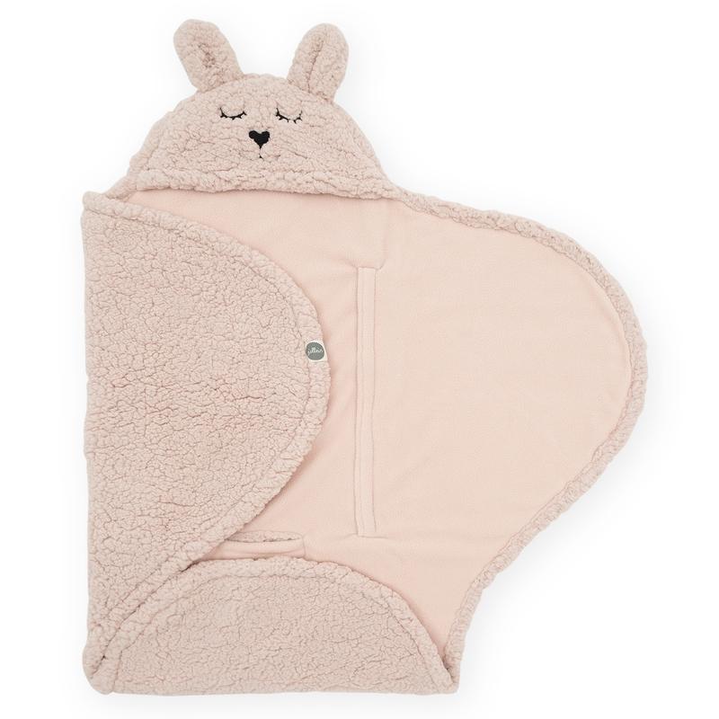Wickeldecke mit Kapuze 'Bunny' Teddy puderrosa