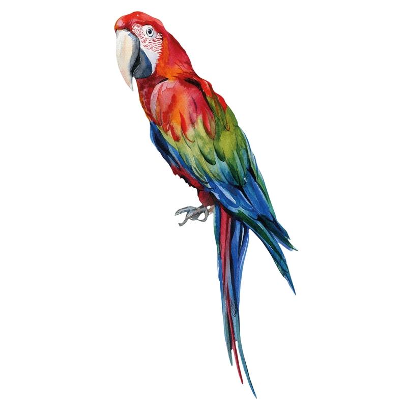 Stoff-Wandsticker 'Papagei Manuel' blau/rot