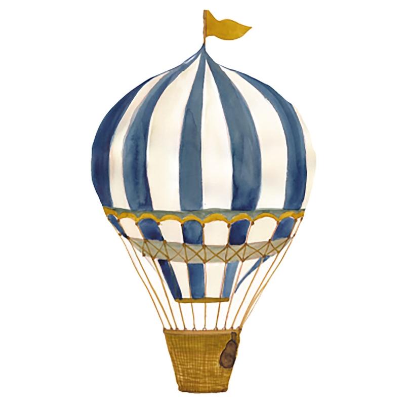Stoff-Wandsticker 'Heißluftballon' blau