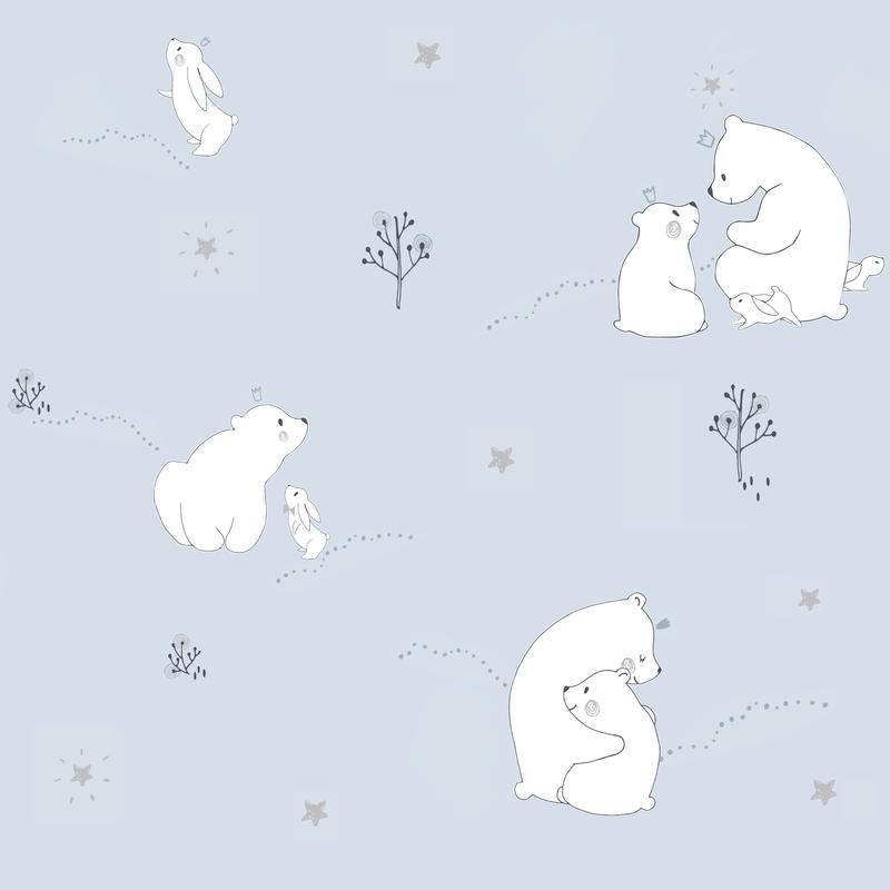 Tapete 'Eisbär & Hase' hellblau/silber