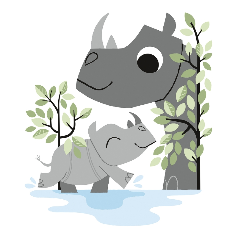 Wandsticker 'Versteckt' Nashornfamilie