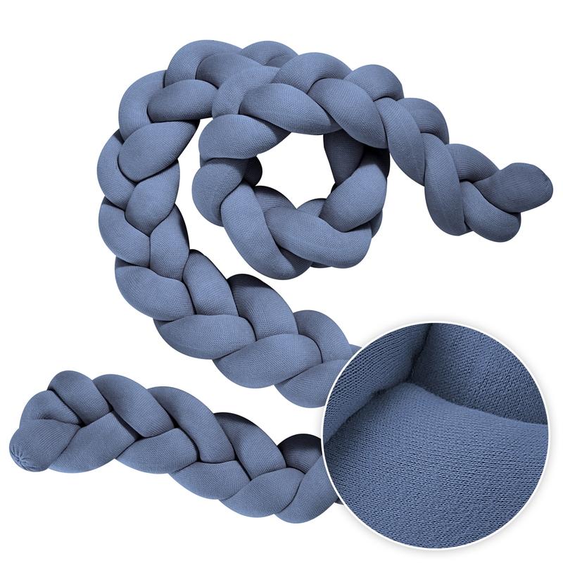 Bettschlange geflochten Strick blau 2m