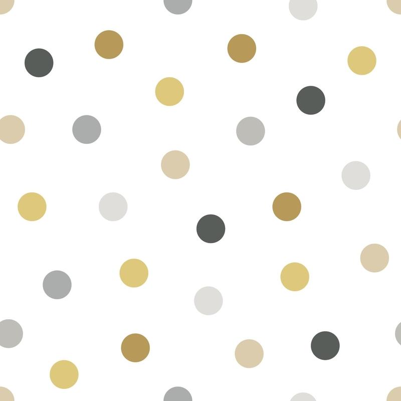 Vliestapete 'Punkte' weiß/grau/ocker