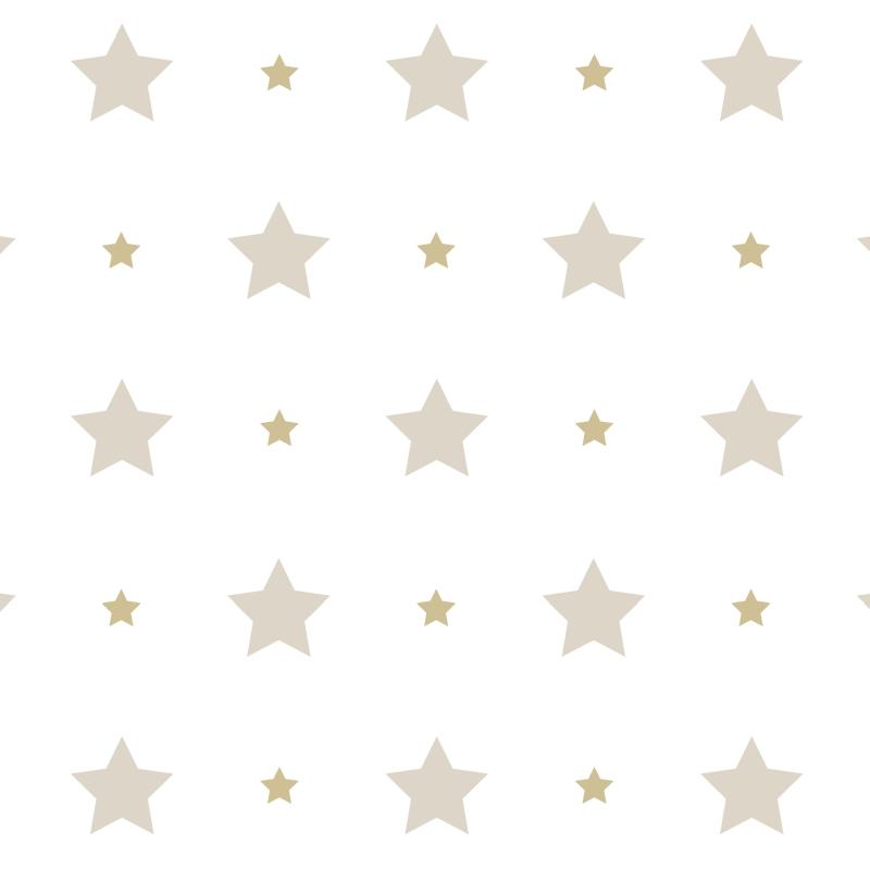 Kindertapete 'Sterne' beige/gold