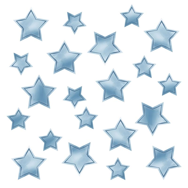 Wandsticker 'Sterne' Aquarell rauchblau 21-tlg.
