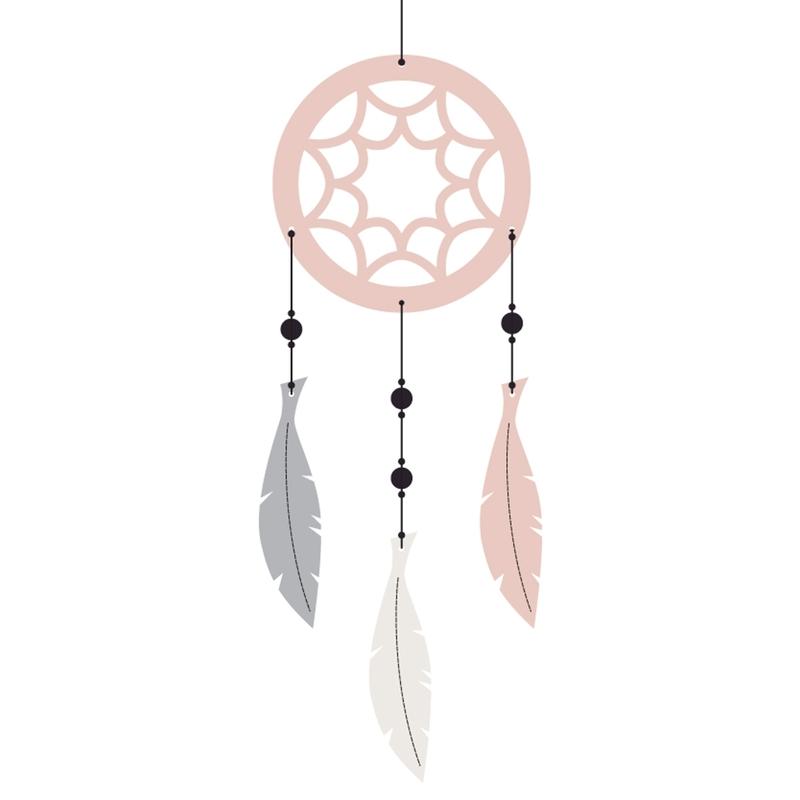 Traumfänger 'Federn & Holzperlen' rosa/grau