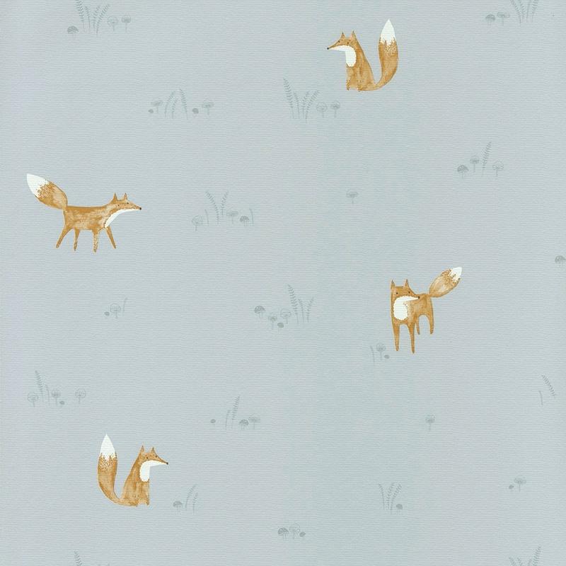 Stoff 'My Little World' Fuchs' blau/braun