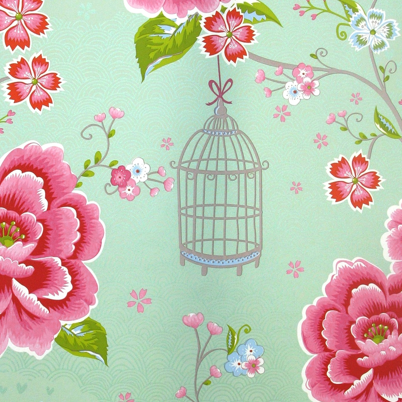 Vliestapete 'Birds in Paradise' mint/rosa