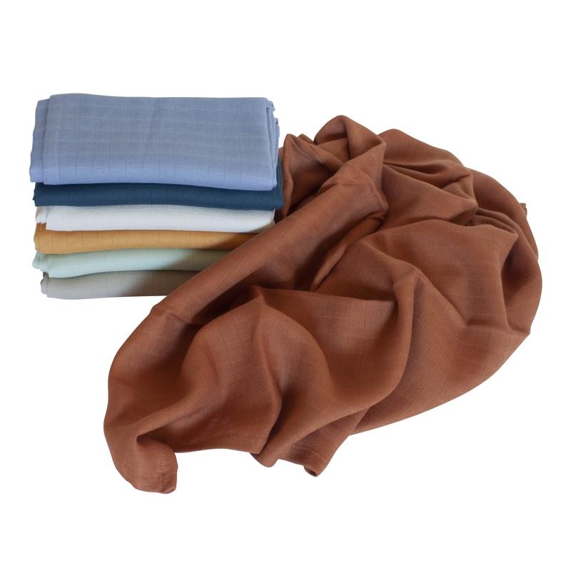 Mulltücher karamell/blau 7er Set 75x75cm