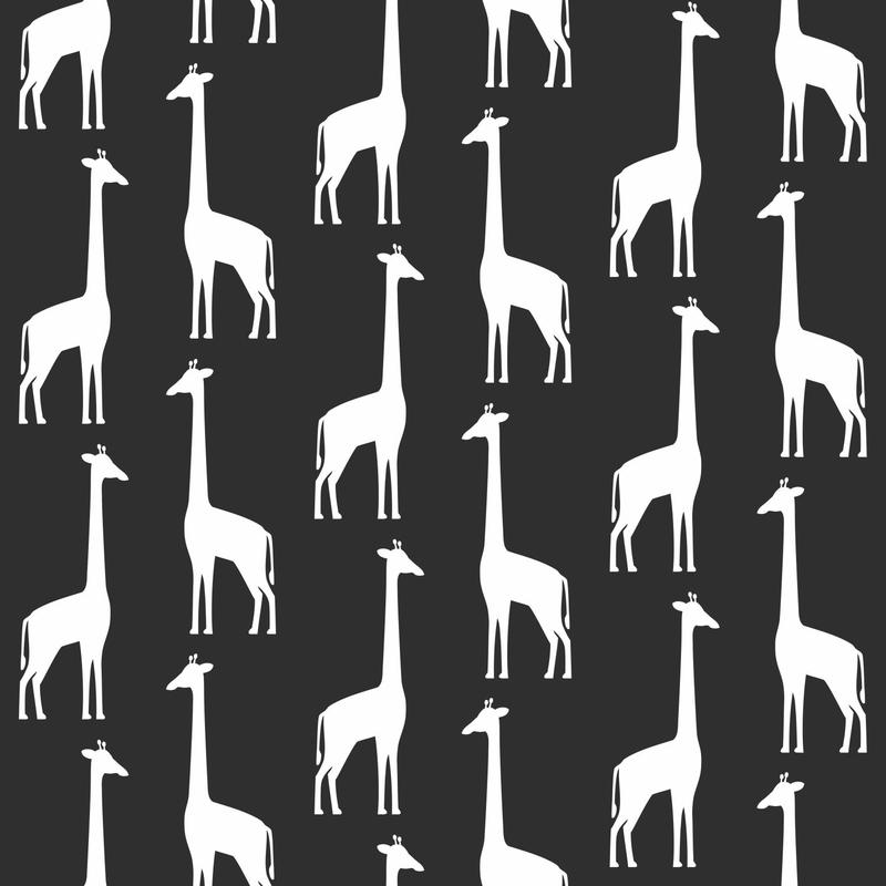Vliestapete 'Giraffen' schwarz/weiß