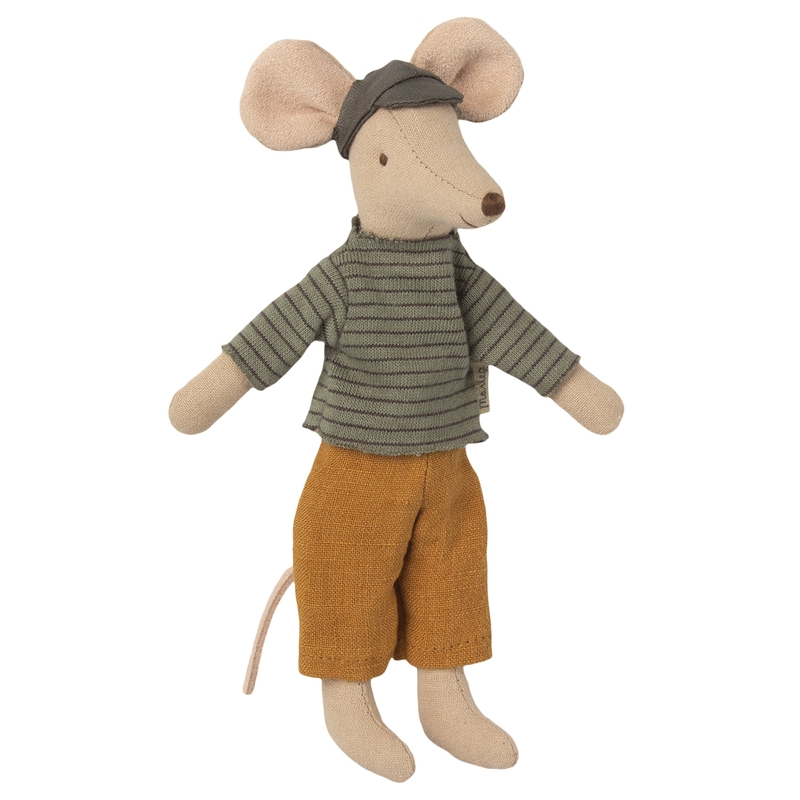 Papa Maus beige/senfgelb 15cm (Micro)