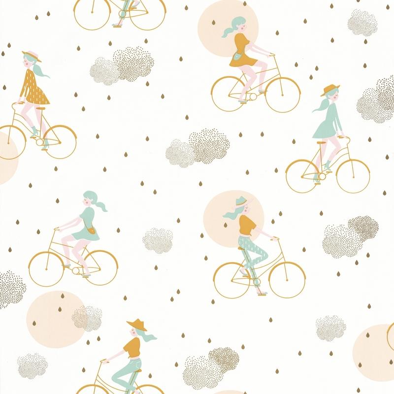 Tapete Fahrrad mint/gold 'Girl Power'