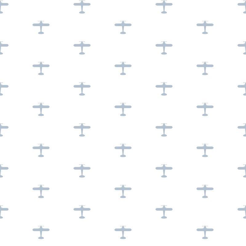 Vliestapete 'Flugzeuge' weiß/hellblau