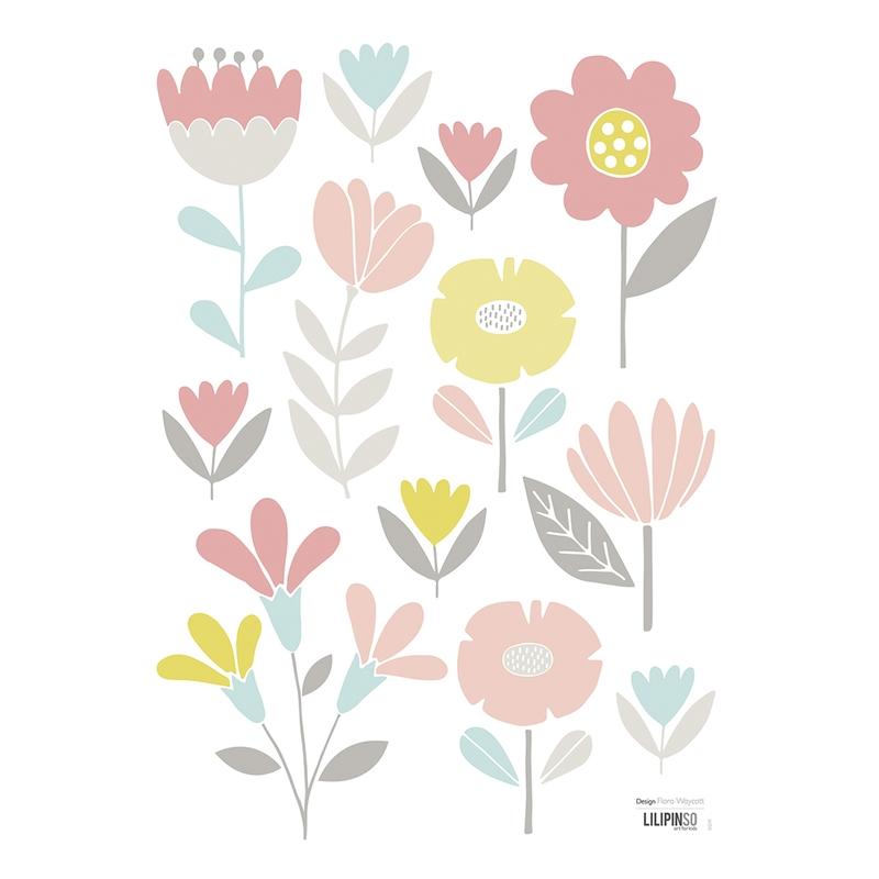 Wandsticker 'Vintage Blumen' rosa/pastell