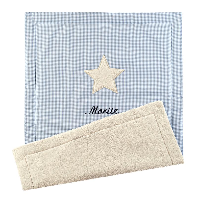Babydecke 'Stern' blau 70x100cm personalisiert