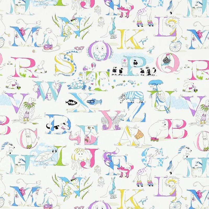 Kinderzimmer Stoff 'Alphabet Zoo' aqua/rosa