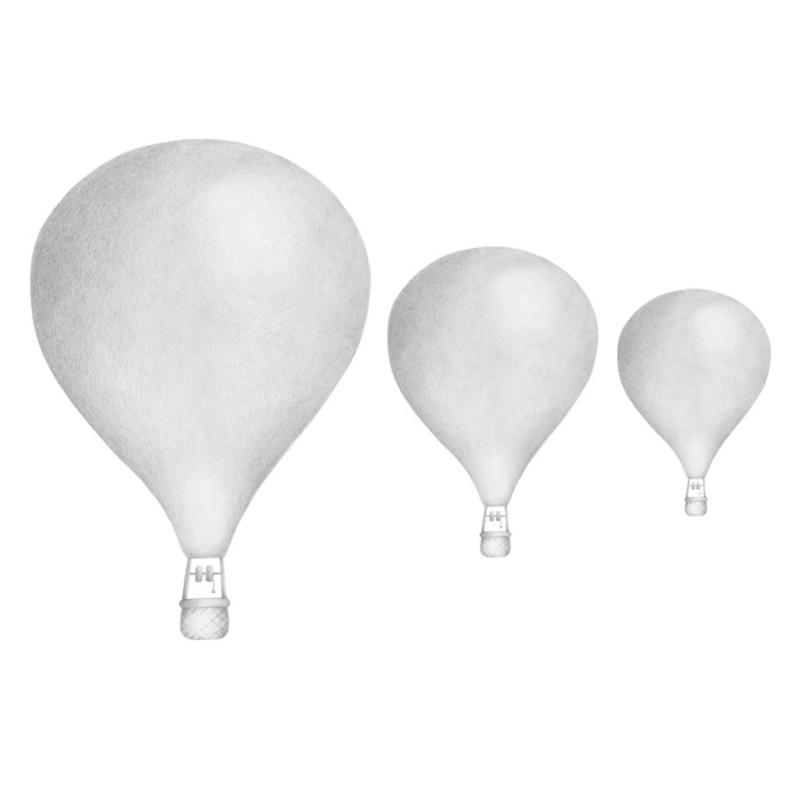 Wandsticker 'Heißluftballons' hellgrau 3D Optik