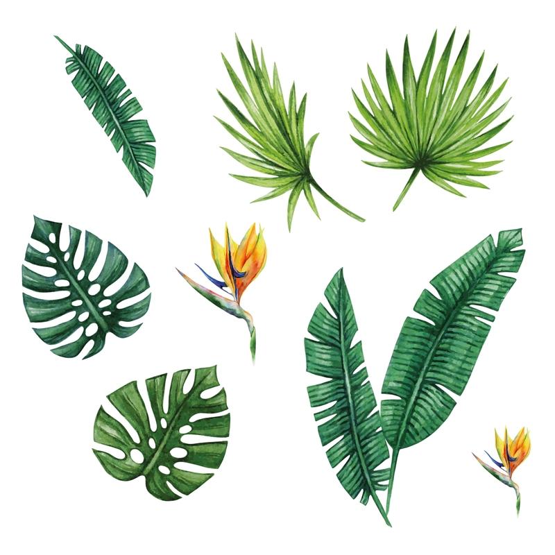 Stoff-Wandsticker 'Dschungelblätter' grün
