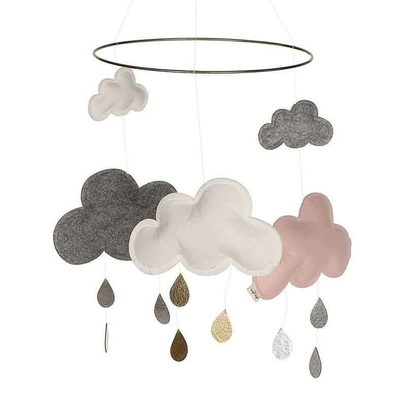 Mobile 'Wolken & Regentropfen' grau/rosa