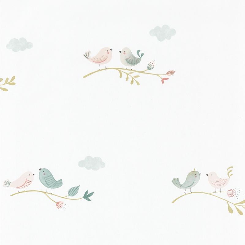 Tapete 'Rose & Nino' Vögel puder/grün