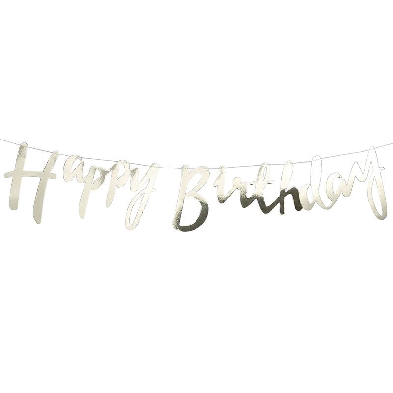 Girlande 'Happy Birthday' gold 150cm