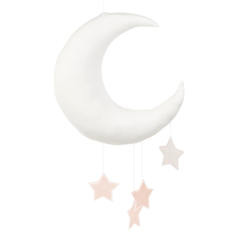 Mobile 'Mond & Sterne' weiß/rosa handmade