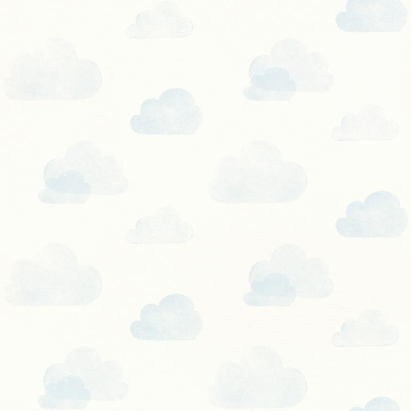 Vliestapete 'Wolken' hellblau/weiß