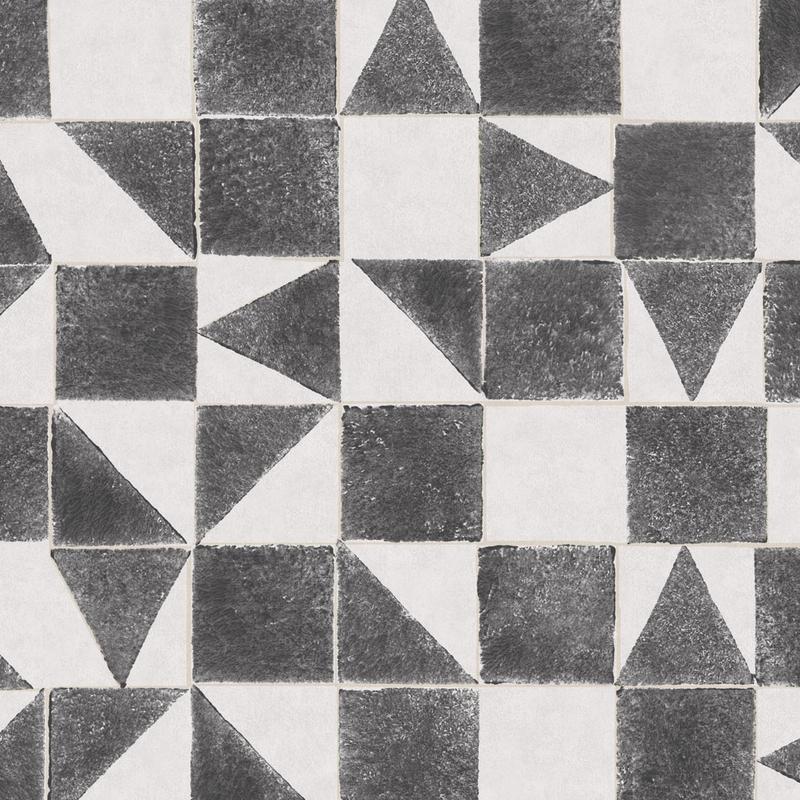Vliestapete 'Mini Me' Quadrate schwarz/grau