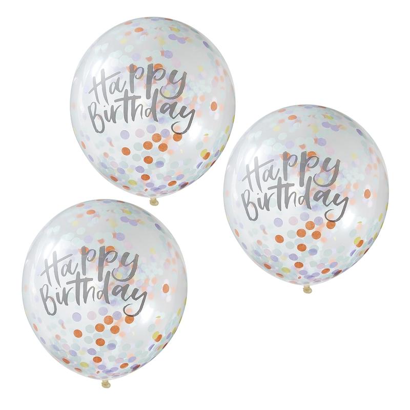 Konfetti-Luftballons 'Pastell' 5er Set 30cm