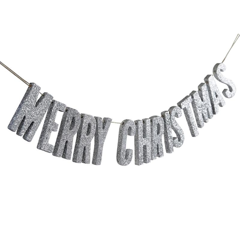 Holzgirlande 'Merry Christmas' silber