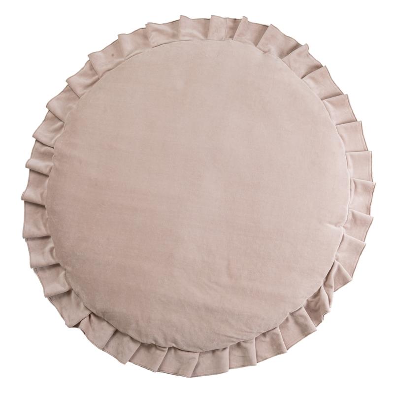 Spielmatte mit Rüschen Samt beige 110cm