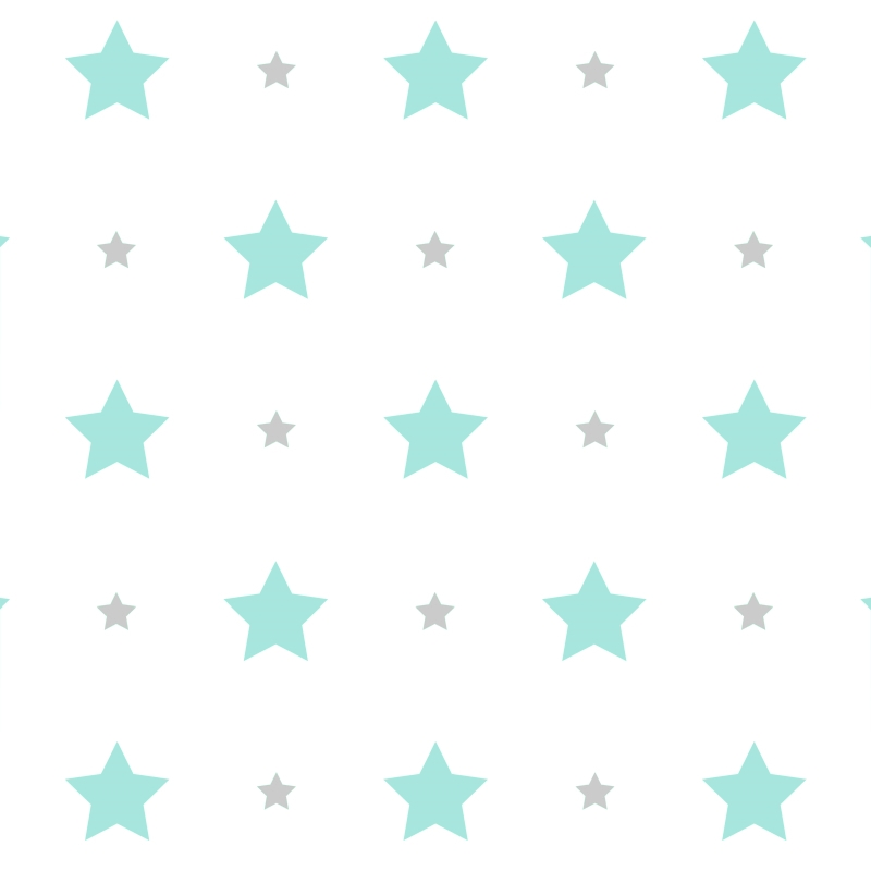 Kindertapete 'Sterne' mint/grau