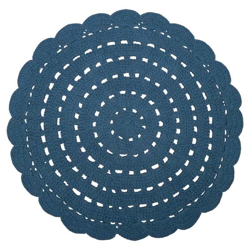 Häkelteppich 'Alma' rund blau ca. 120cm