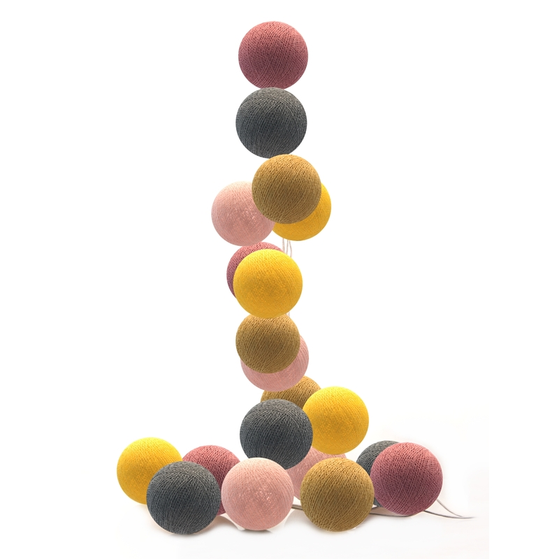 Lichterkette Cotton Balls LED altrosa/senf