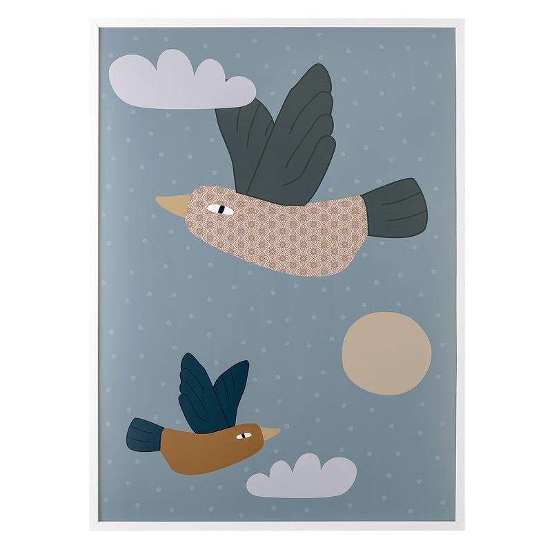 Kinderzimmerbild 'Vögel' blau 52x72cm