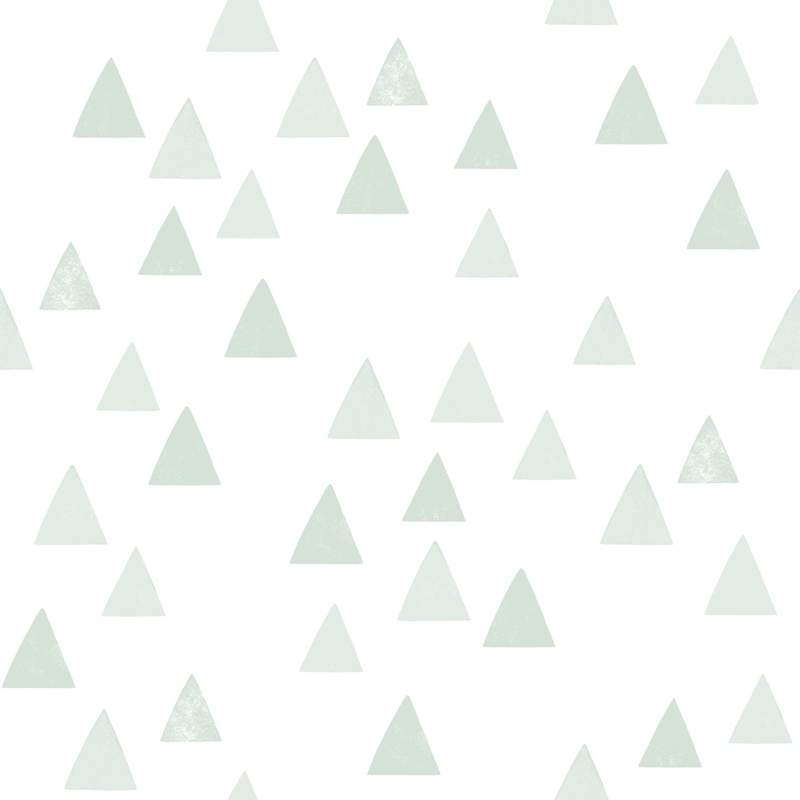 Vliestapete 'Dreiecke' weiß/softmint