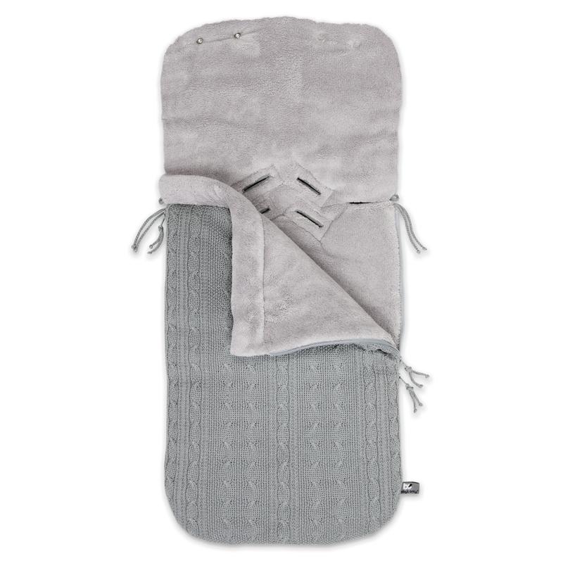Fußsack für Babyschale 'Zopf' Strick grau