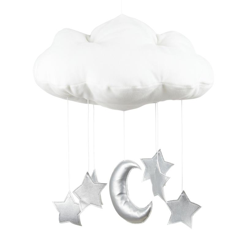 Mobile 'Wolke, Mond & Sterne' weiß/silber