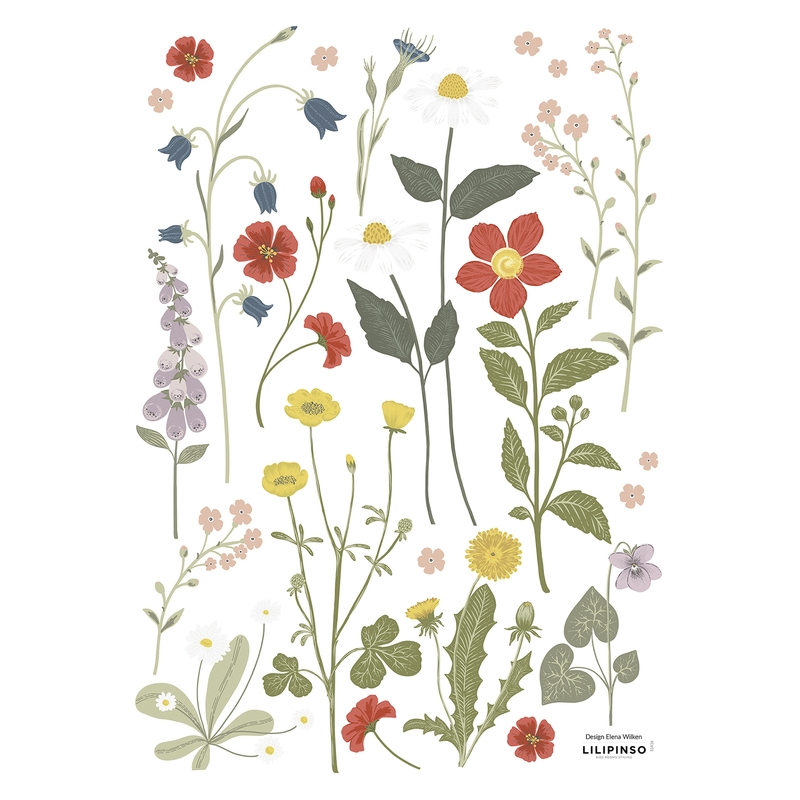 Wandsticker Blumen 'Countryside' grün/rot