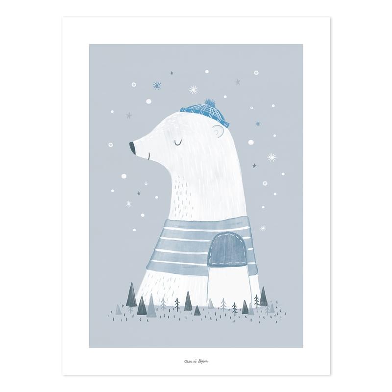 Poster 'Arctic' Eisbär grau/blau 30x40cm