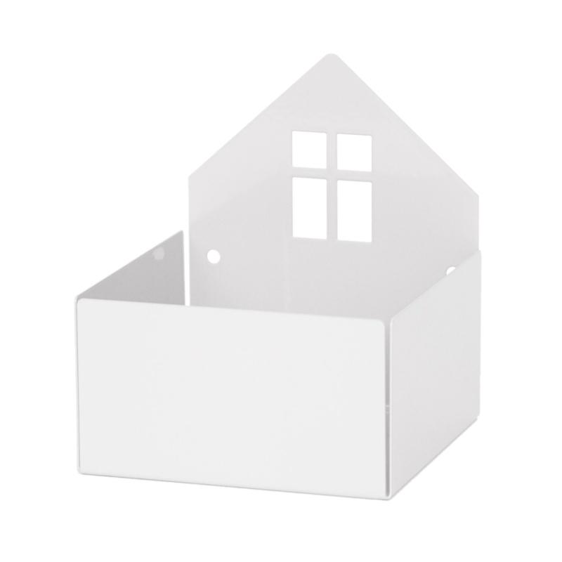 Metallregal & Wandbox 'Haus' weiß