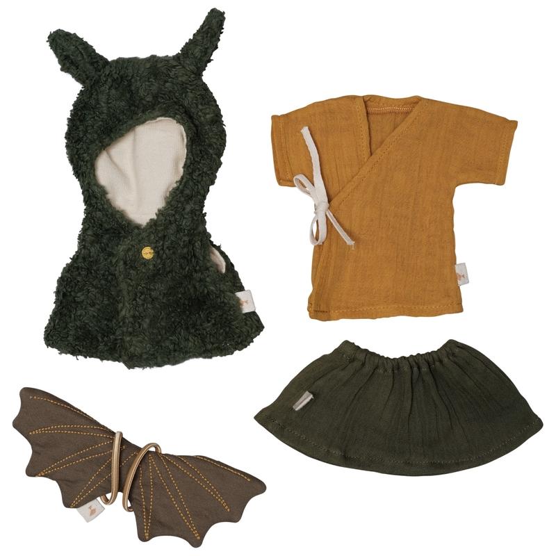 Kleiderset für Spielpuppe Shirt/Rock grün