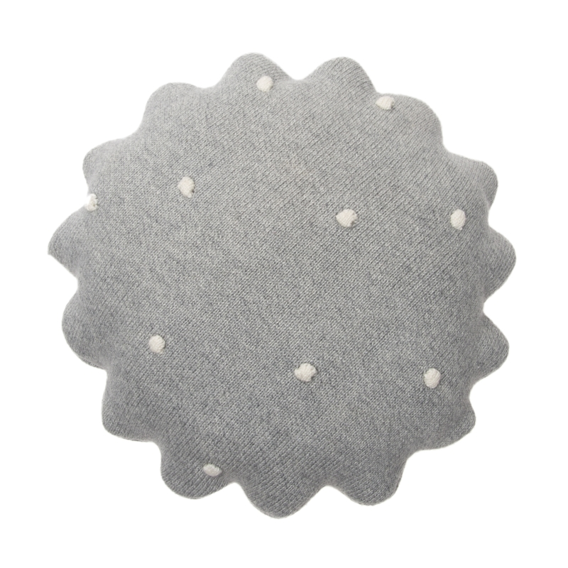 Kissen aus Baumwollstrick 'Biscuit' grau ca. 25cm