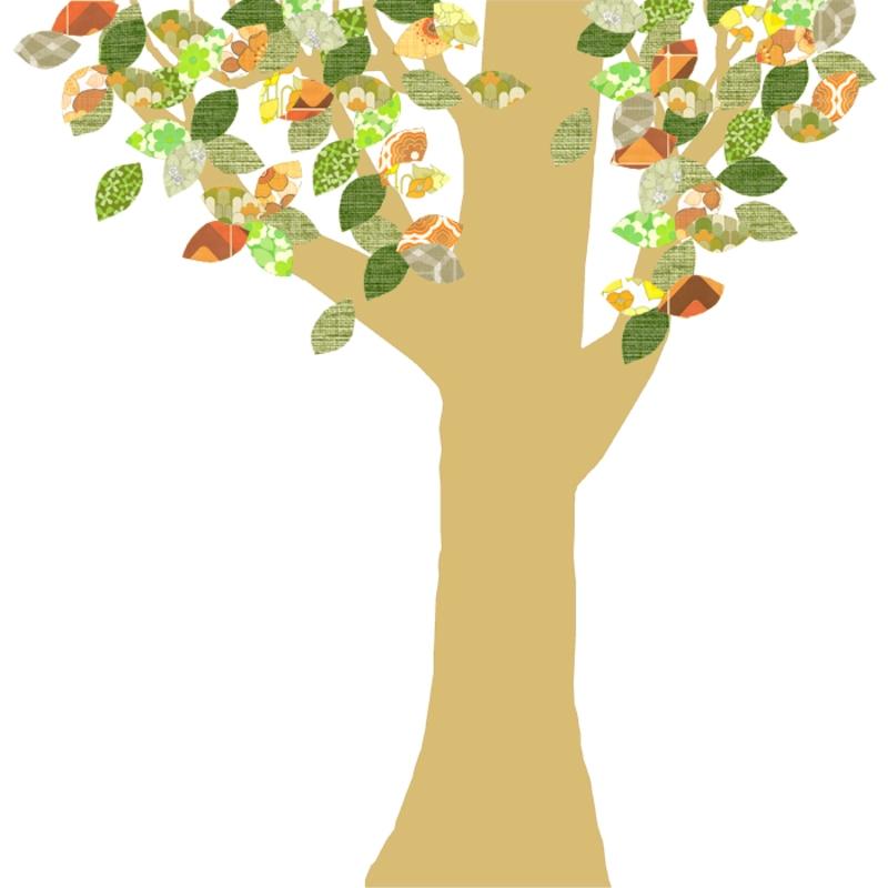 Tapetenbaum groß gold/orange/grün