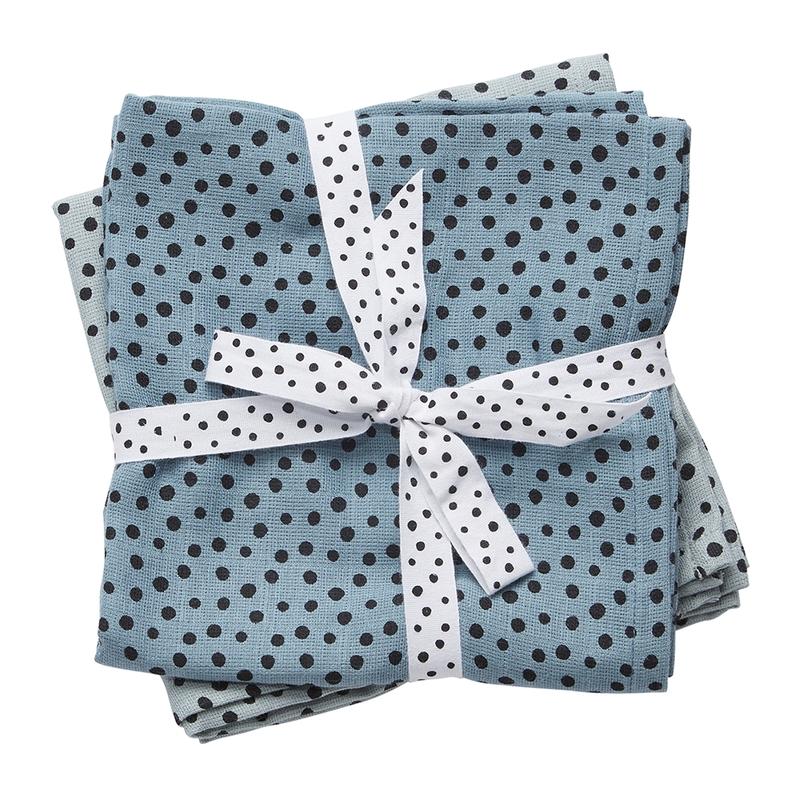 Mulltücher 'Happy Dots' blau 2er Set 70cm