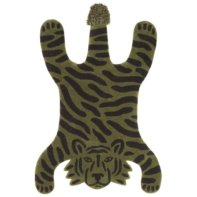 Kinderteppich 'Tiger' olivgrün ca. 118x160cm
