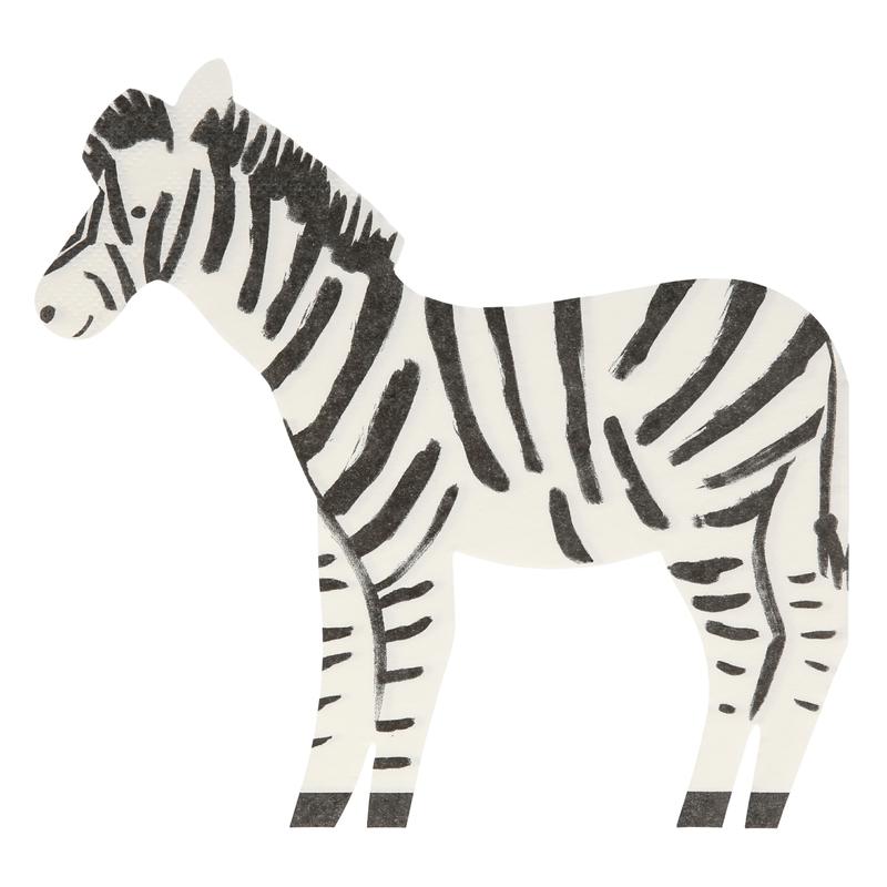 Papierservietten 'Zebra' schwarz/weiß 20 Stk.