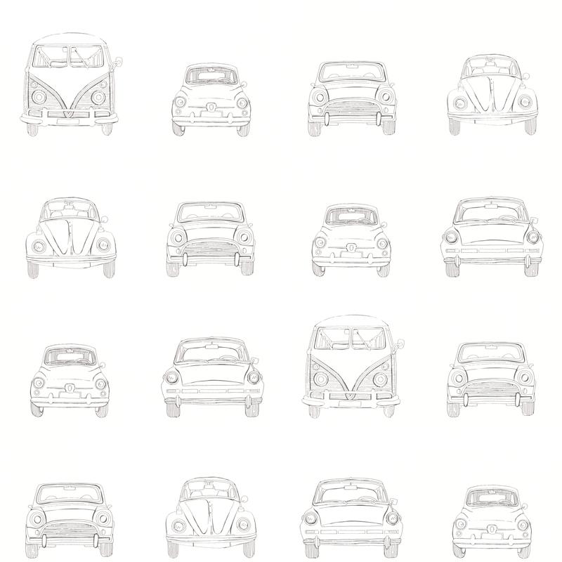 Vliestapete 'Autos' weiß/schwarz